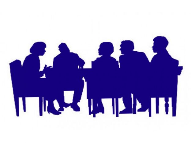 people sitting around table clipart