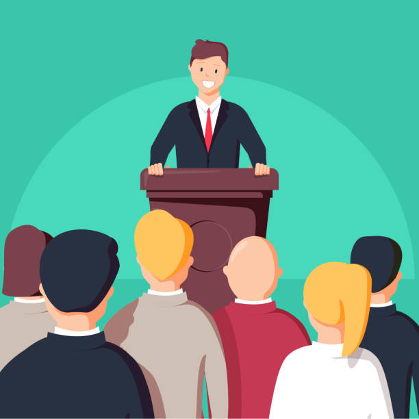 man standing at a podium in front of audience clipart